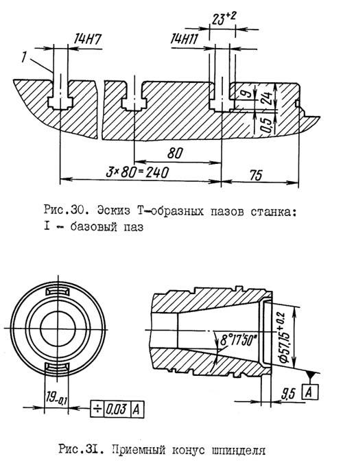 2Е450АФ1 Рабочие присоединительные базы расточного координатного станка