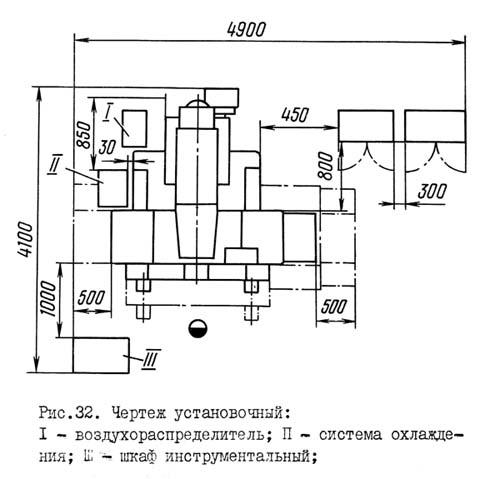2Е450 Установочный чертеж координатно-расточного станка