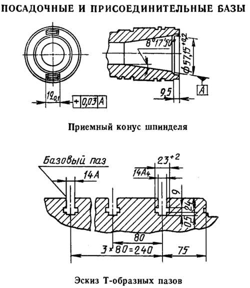 2Е450АФ30 Рабочие присоединительные базы расточного координатного станка