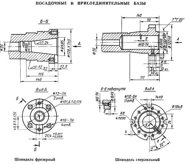 Посадочные и присоединительные базы сверлильного центровального станка 2Г942