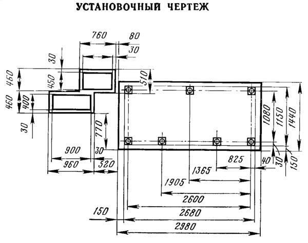 2Г942 Чертеж фундамента сверлильного станка