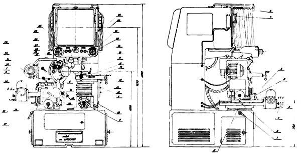 Расположение составных частей профилешлифовального станка 395М