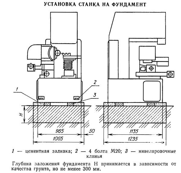 Установочный чертеж профилешлифовального станка 395М