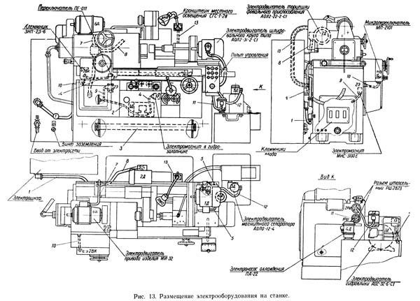 Размещение электрооборудования на шлифовальном станке 3А227, 3А227П