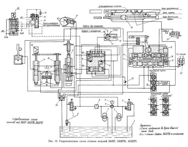 Гидравлическая схема внутришлифовального станка 3А227, 3А227П