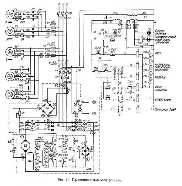 Схема электрическая принципиальная шлифовального станка 3А227, 3А227П