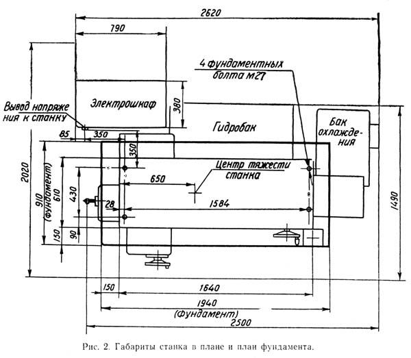 Установочный чертеж внутришлифовального станка 3А227, 3А227П
