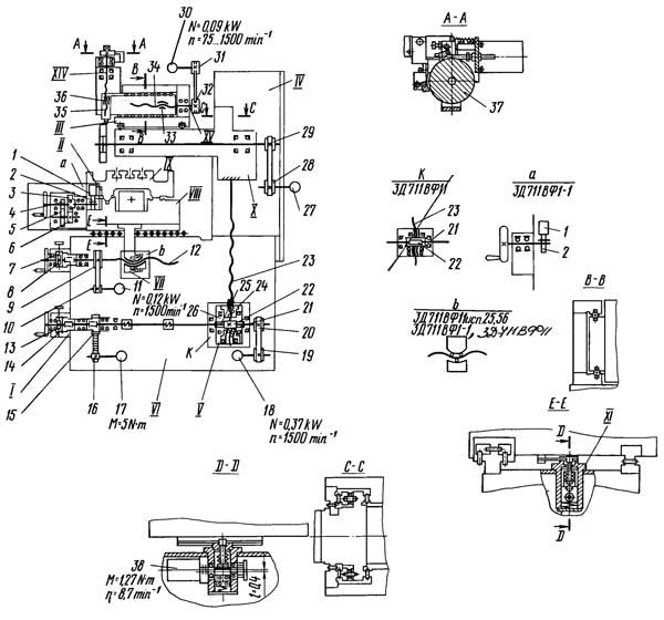 Кинематическая схема плоскошлифовального станк 3Д711ВФ11