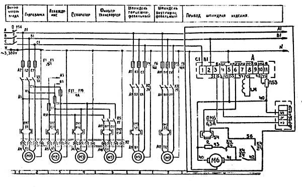 Схема электрическая принципиальная шлифовального станка 3К227В
