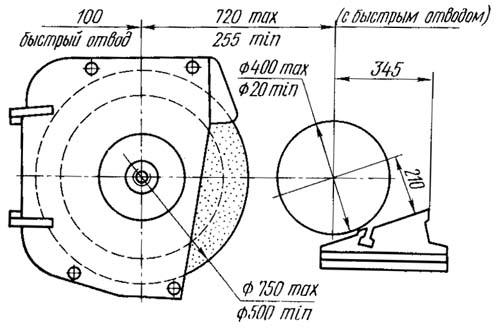 Габаритные размеры рабочего пространства универсального круглошлифовального полуавтомата станка 3М174