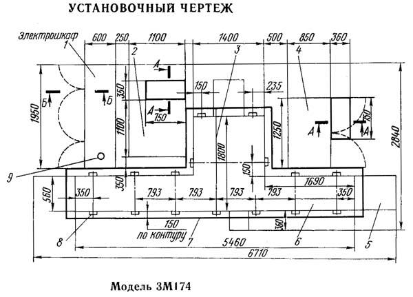 Установочный чертеж круглошлифовального станка 3М174
