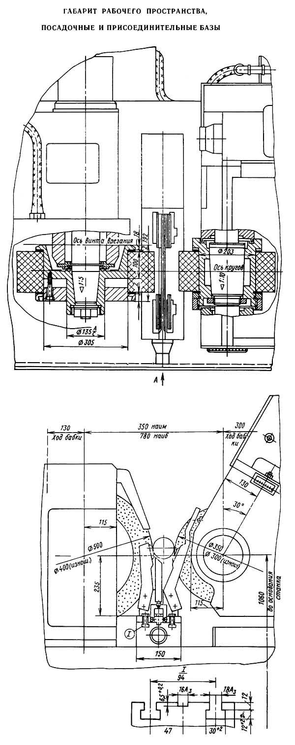 3М184 посадочные места и присоединительные размеры круглошлифовального бесцентрового станка. Габарит рабочего пространства круглошлифовального бесцентрового станка