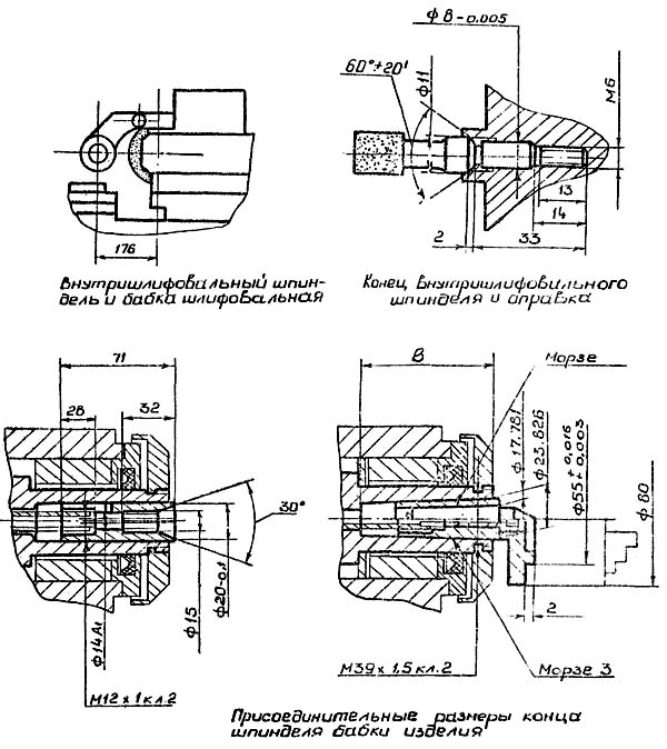 Присоединительные размеры и посадочные места станка 3У10А
