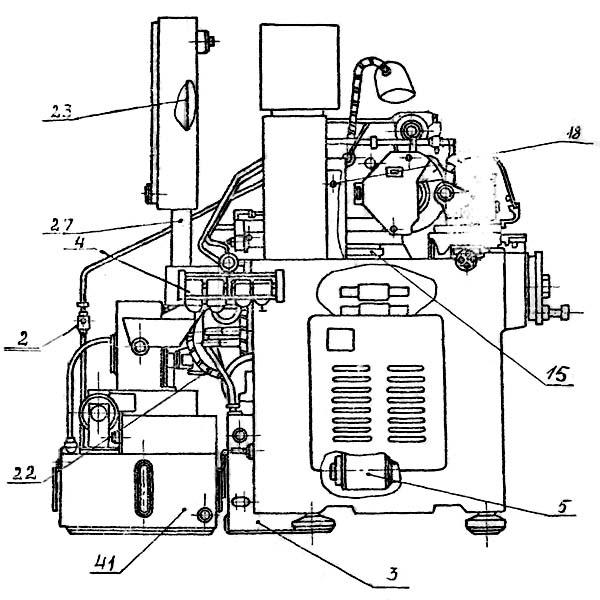 Расположение составных частей круглошлифовального станка 3У10А