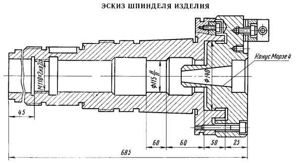 5350А Посадочные и присоединительные базы шлицефрезерного полуавтомата 5350А. Эскиз шпинделя заготовки
