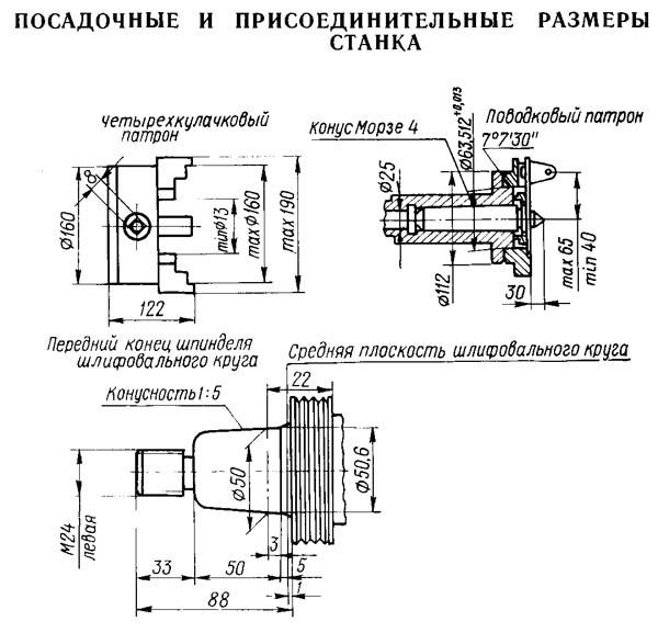 5822М Посадочные и присоединительные базы резьбошлифовального станка. Четырехкулачковый патрон и поводковая планшайба