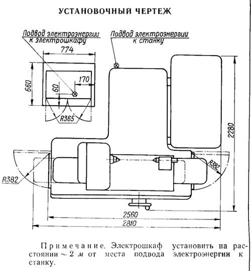 Установочный чертеж резьбошлифовального станка 5822М