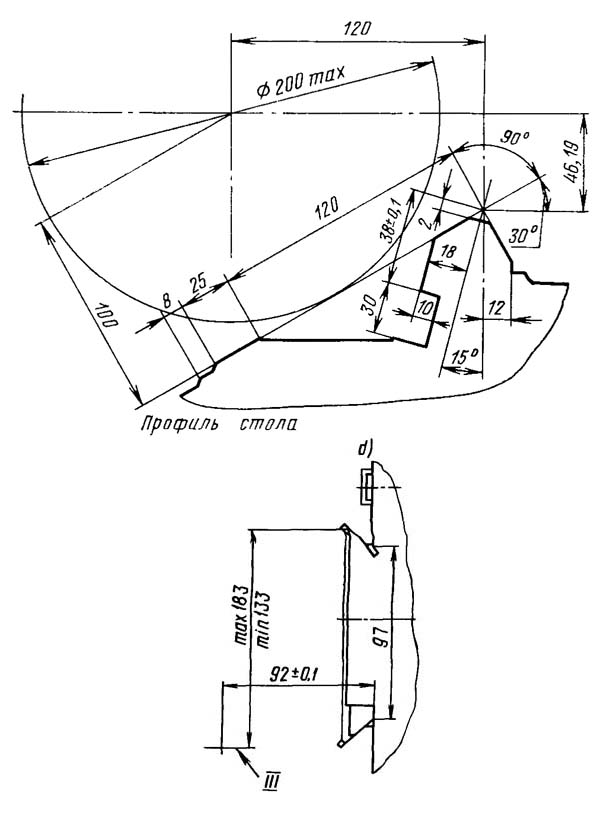 5К822В Посадочные и присоединительные базы резьбошлифовального станка. Профиль стола и место установки правящих устройств