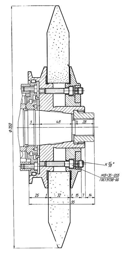 5М841 Посадочные и присоединительные базы зубошлифовального станка. Передний конец шлифовального шпинделя