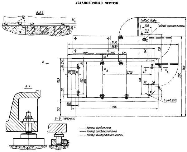 Установочный чертеж зубошлифовального станка 5М841