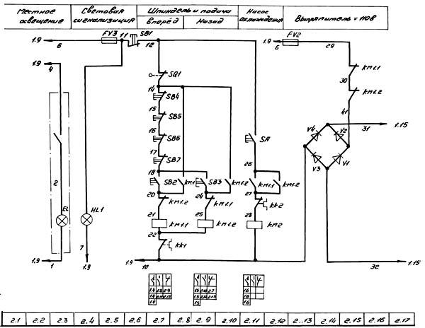 Схема электрическая принципиальная фрезерного станка 6М76П