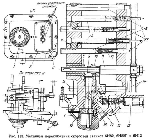 6Н82Г Механизм переключения скоростей горизонтально-фрезерного станка 6Н82Г