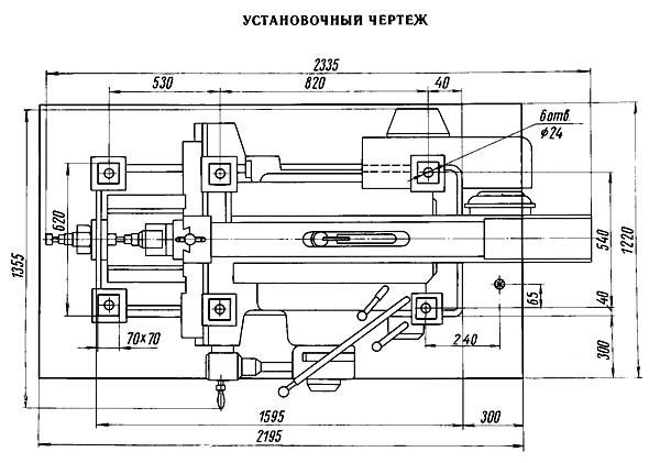7Б35 Установочный чертеж поперечно-строгального станка