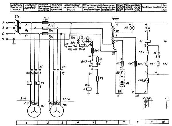 Схема электрическая поперечно-строгального станка 7Д36