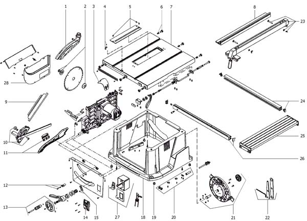 AEG TS 250 K Пила циркулярная настольная. Схема и детали сборки