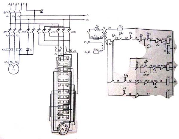 Схема электрическая станка ЦА-2А