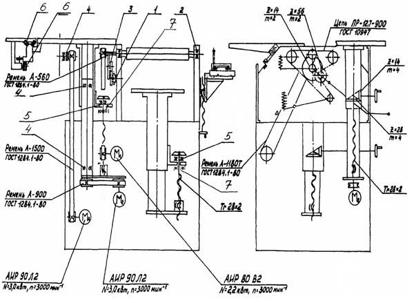 Кинематическая схема комбинированного станка Д300