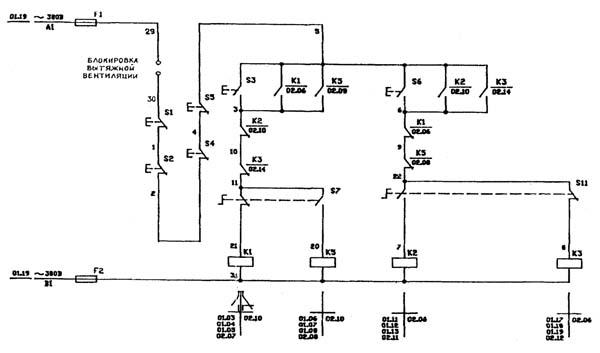 Схема электрическая комбинированного станка Д400