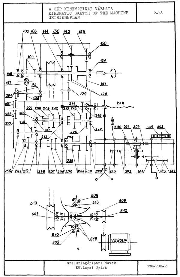 Кинематическая схема токарно-винторезного станка EMU-200