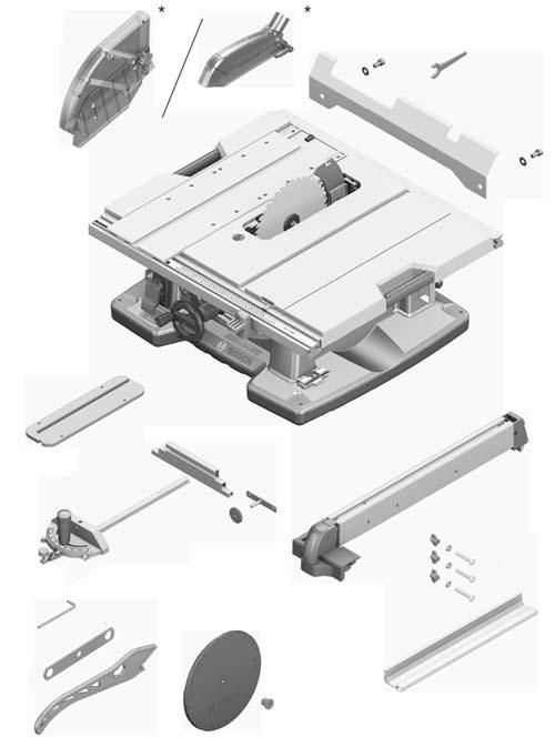 Стандартная комплектация настольной циркулярной пилы GTS-10 xc