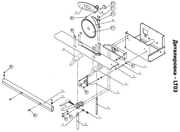 PKM-300 станок комбинированный. Схема и детали сборки