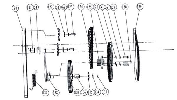 Схема и детали сборки привода фуговально-рейсмусового станка JPT-10B