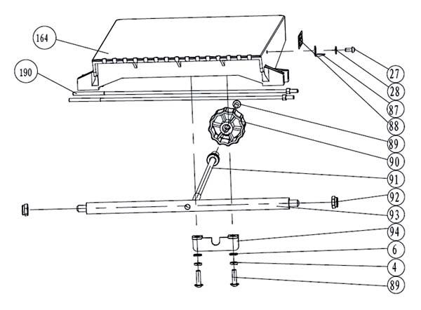 Схема и детали сборки подающего стола фуговально-рейсмусового станка JPT-10B