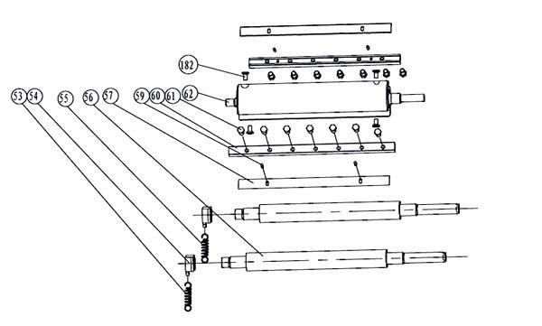 Схема и детали сборки ножевого вала и подающего ролика фуговально-рейсмусового станка JPT-10B