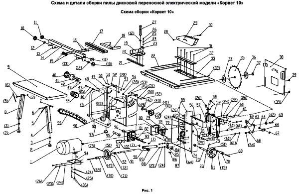 Корвет-10 станок круглопильный. Схема и детали сборки