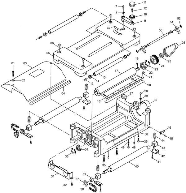 Корвет-21 станок рейсмусовый. Схема и детали сборки