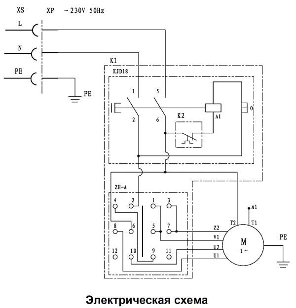 Схема электрическая комбинированного станка Корвет 320