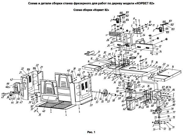 Корвет-82 станок фрезерный. Схема и детали сборки