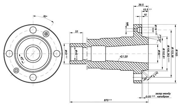 Кусон-3 Станок токарно-винторезный. чертеж шпинделя