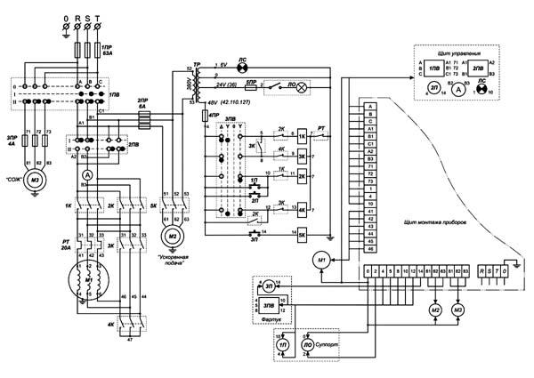 Схема электрическая токарно-винторезного станка Кусон-3, Кусон-3М, Кусон-3Г, Кусон-3Ф1