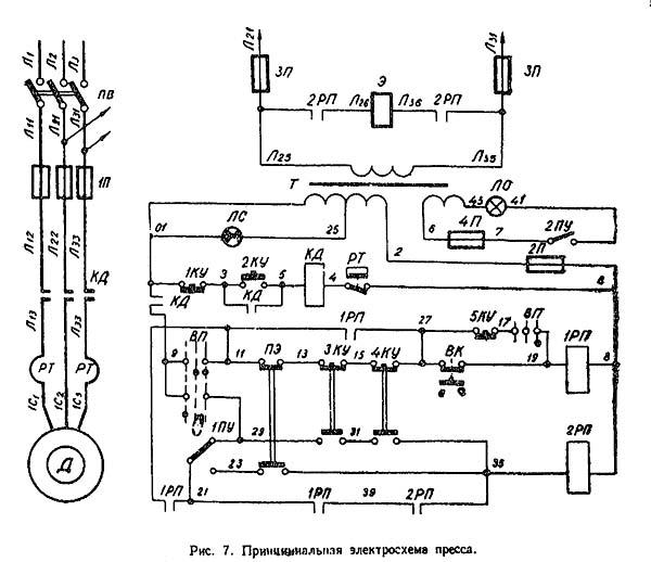 кв235 Схема электрическая однокривошипного листоштамповочного пресса КВ-235