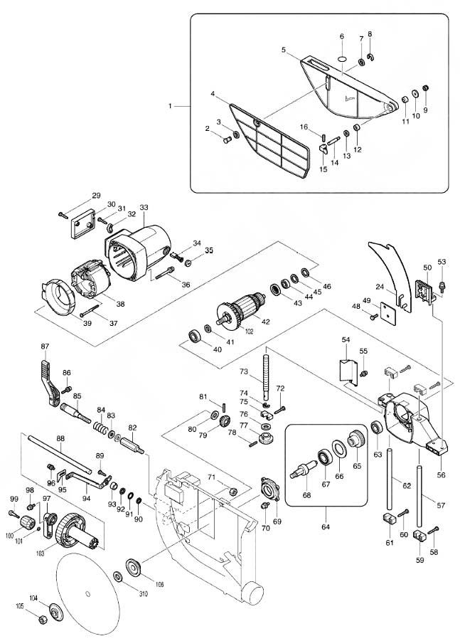 Makita 2704 Пила циркулярная настольная. Схема и детали сборки