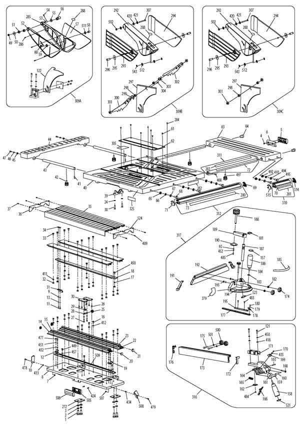 Makita MLT100 Пила циркулярная настольная. Схема и детали сборки