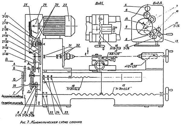 Схема кинематическая токарно-винторезного станка МК-3002