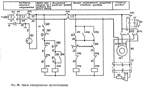 Схема электрическая токарно-винторезного станка МК-3002