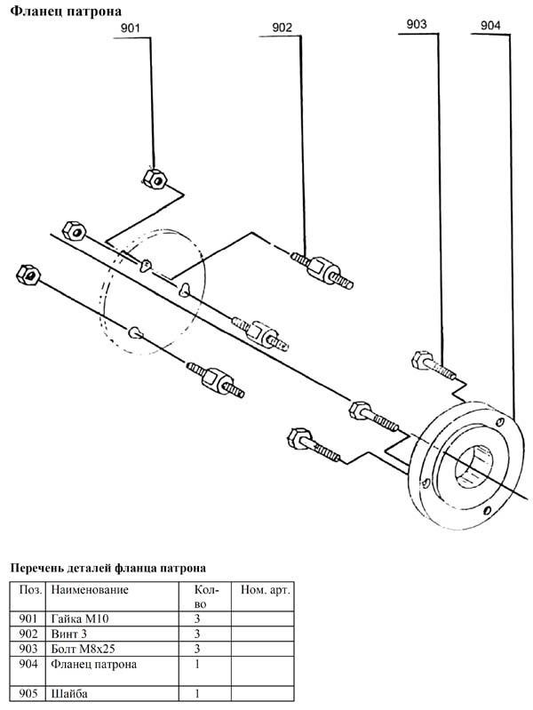 MML 250x550 Схема сборки токарного станка. Фланец патрона